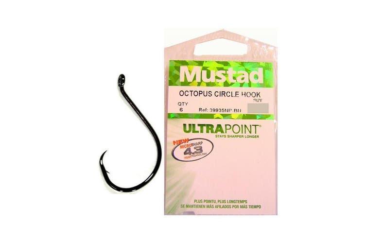 Size 6/0 Mustad Octopus Circle Hooks - Qty 6 - 39935npnp-Chemically Sharpened Hooks