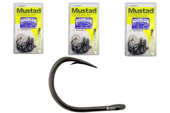 Mustad Hoodlum Size 5/0 -Bulk 3 Pack- 10827npbln -Live Bait Chemically Sharpened
