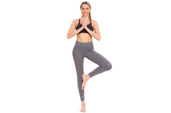 SEMATH Women Sports Gym Yoga Pants Leggings Plus Size Grey