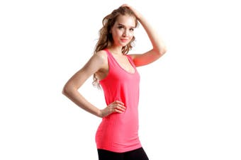 SEMATH Women Sports Gym Yoga Tops Bra Fluorescent red