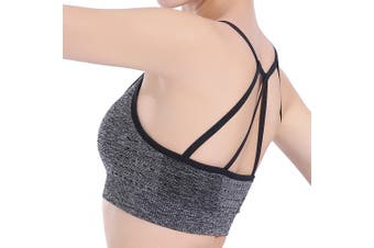 SEMATH Women Sports Gym Yoga Tops Bra Grey