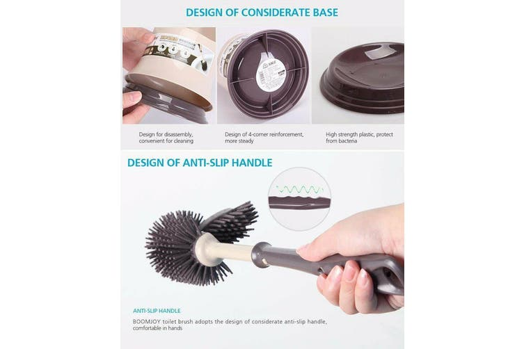 BOOMJOY Toilet Brush and Holder Set Silicone Bristles Bathroom Cleaning Bowl Brush