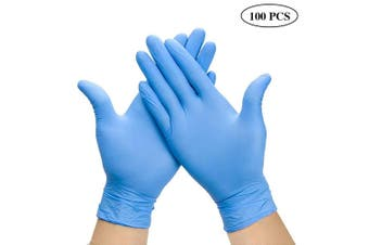 100 pcs Nitrile Disposable Gloves Protective Working Gloves Blue