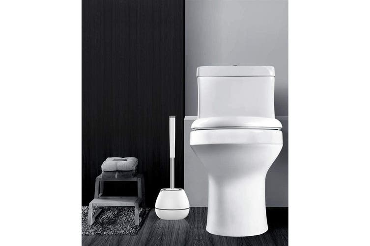 BOOMJOY Toilet Brush and Hoder Bathroom Cleaning TPR Rubber Built-in Tweezer