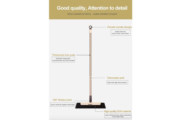 BOOMJOY Y5 soft EVA wiper head floor extensible pole broom mop