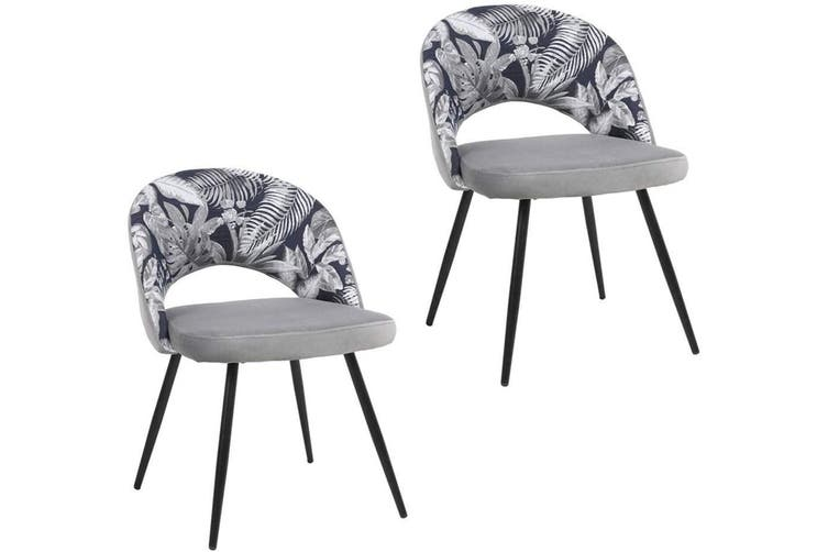 2pcs BELLEMOSA Relax Dining Chair With Powder Coated Metal Frame Velvet Cover - Grey