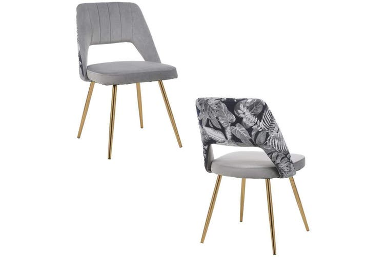 2pcs BELLEMOSA Relax Dining Chair With Gold Chromed Metal Frame Velvet Cover - Grey