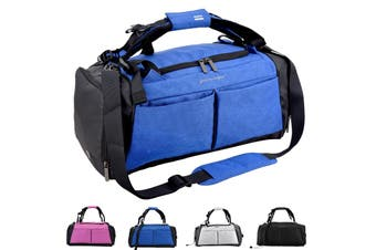 Gym Duffel Bag with Shoe Compartment Waterproof Sports Travel 40L Bag BLUE