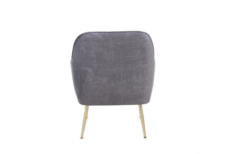 BELLEMOSA Armchair With Gold Chromed Metal Frame Velvet Cover GREY