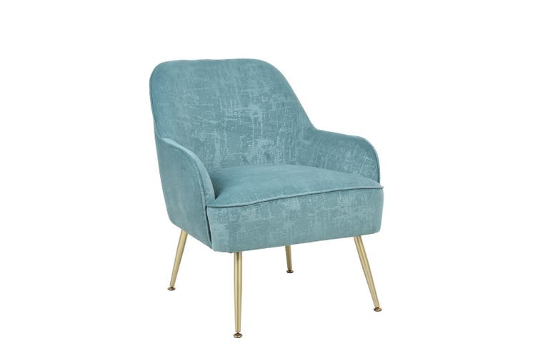 BELLEMOSA Armchair With Gold Chromed Metal Frame Velvet Cover Teal Blue