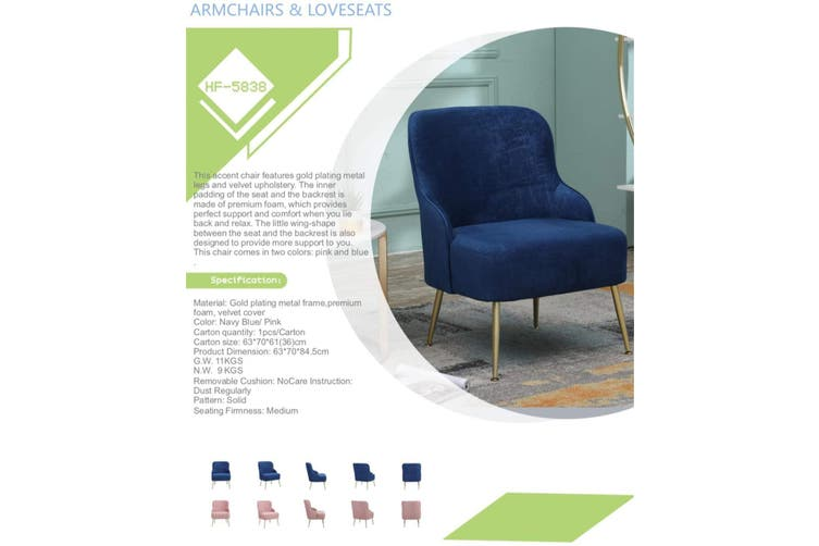 BELLEMOSA Accent Chair Furniture Sofa Seat Lounge Velvet Armchair for Bedroom, Living Room, Entryway, Office