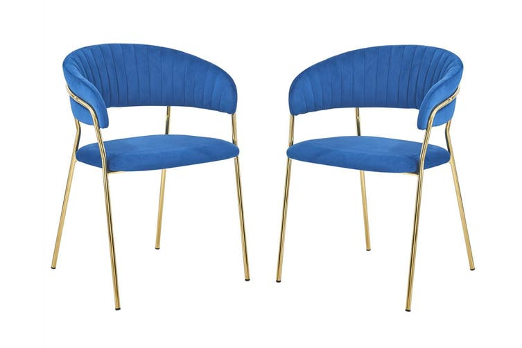 Velvet Accent chair with Soft Padding and Gold Chromed Metal Legs BLUE