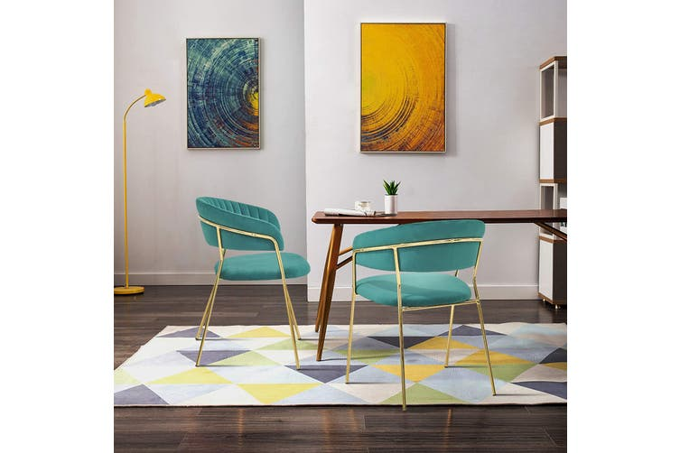 Velvet Accent chair with Soft Padding and Gold Chromed Metal Legs GREEN