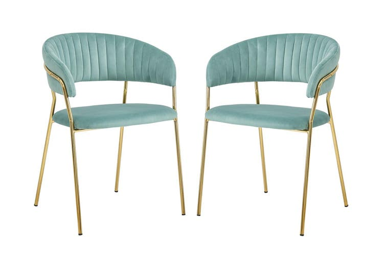 Velvet Accent chair with Soft Padding and Gold Chromed Metal Legs LIGHT BLUE