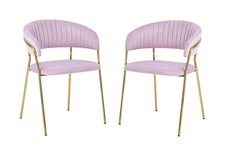 Velvet Accent chair with Soft Padding and Gold Chromed Metal Legs LIGHT PURPLE