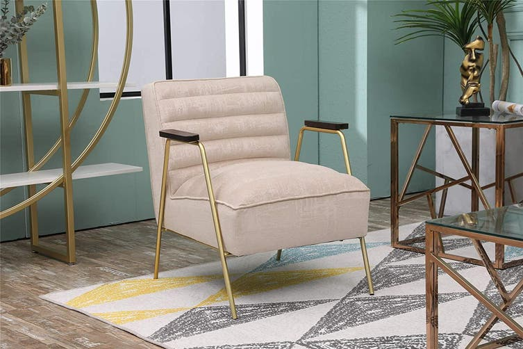 BELLEMOSA Accent Chair Furniture Sofa Seat Lounge Velvet Armchair for Bedroom, Living Room, Entryway, Office Beige