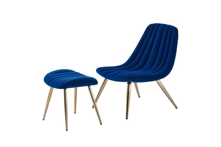 Velvet Accent Chair and Velvet Ottoman Stool With Gold Chromed Frame NAVY BLUE