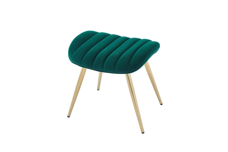 Velvet Accent Chair and Velvet Ottoman Stool With Gold Chromed Frame GREEN