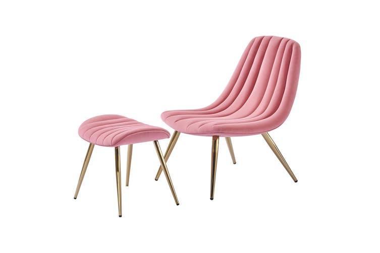 Velvet Accent Chair and Velvet Ottoman Stool With Gold Chromed Frame PINK