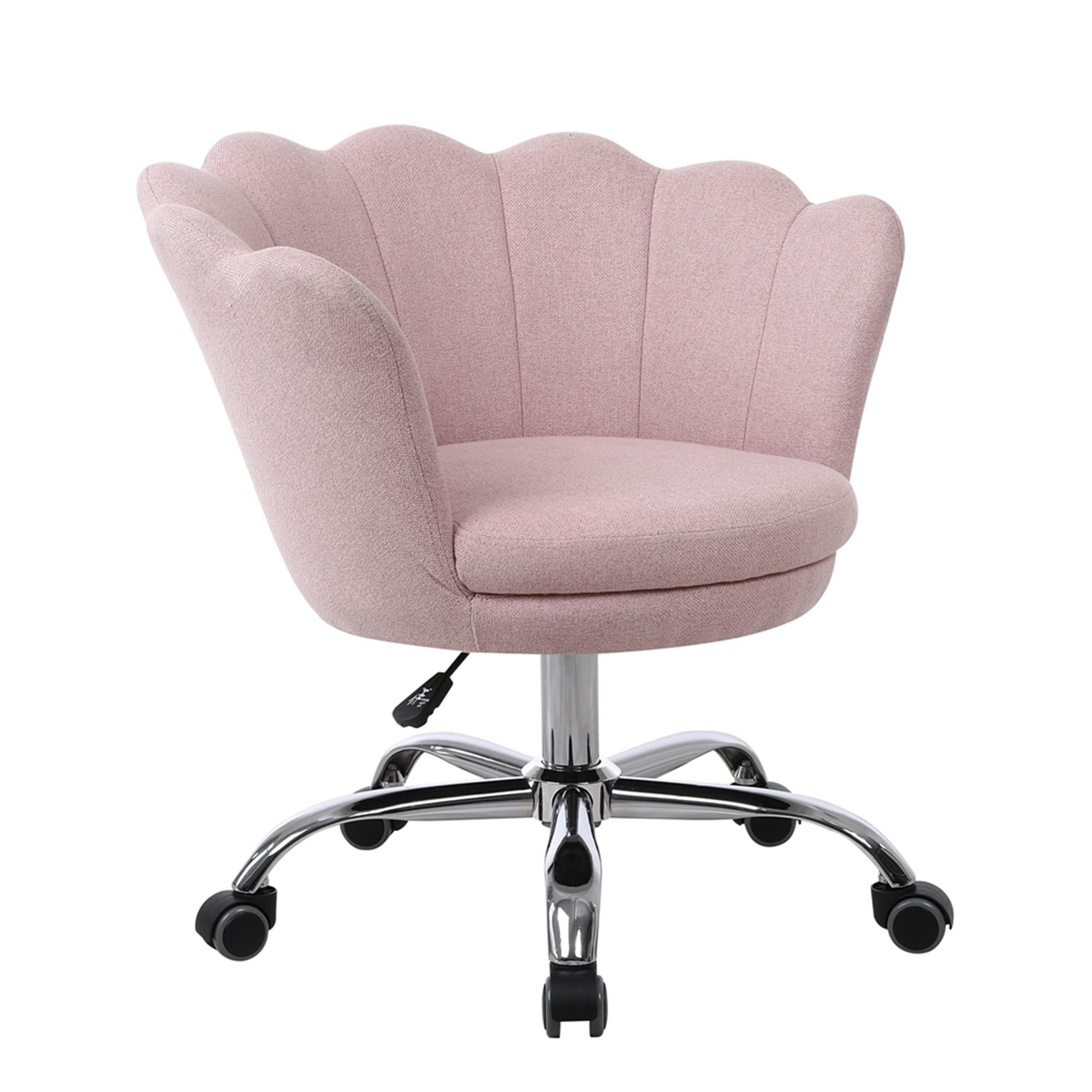 Image of: Modern Linen Fabric Office Chair Shell Chair Adjustable Swivel Comfy Upholstered Desk Chair Pink Matt Blatt