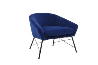 BELLEMOSA Relax Armchair With Powder Coated Metal Frame Velvet Cover Navy Blue