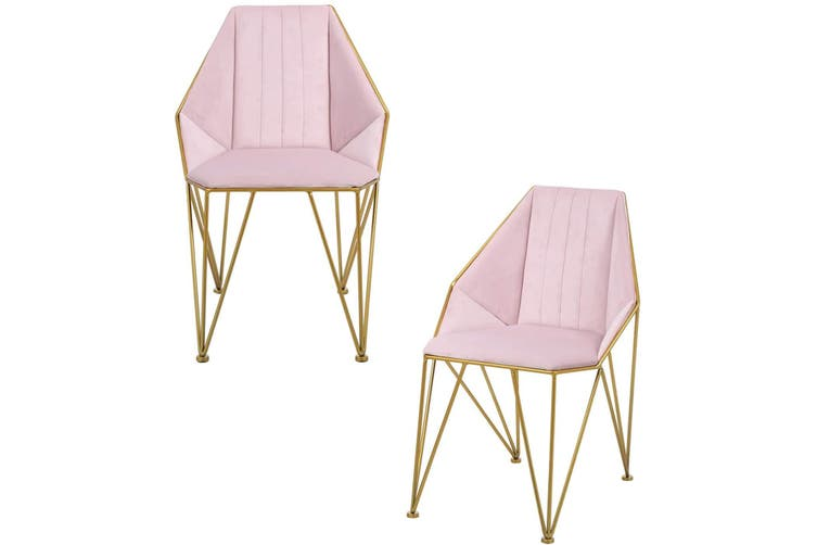 2pcs BELLEMOSA Bat Chair Accent Chair With Gold Chromed Metal Frame/ Velvet Cover Pink