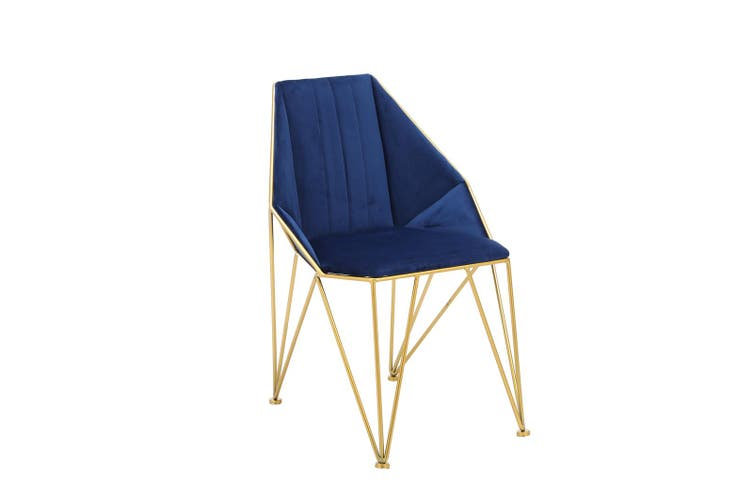 2pcs BELLEMOSA Bat Chair Accent Chair With Gold Chromed Metal Frame/ Velvet Cover Navy Blue