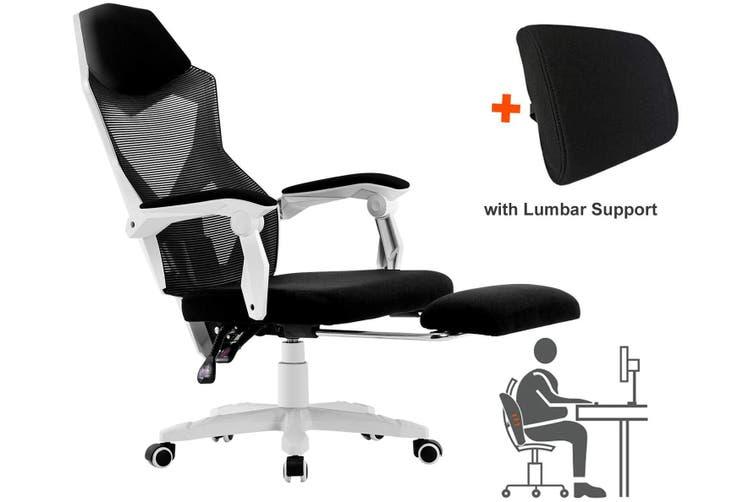 BELLEMOSA Ergonomic Office Chair High Back Adjustable Mesh Recliner Footrest White