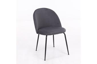 4pcs BELLEMOSA Nordic Velvet Cover Black Steel Frame Dining Chair - Dark Grey