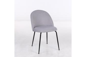 4pcs BELLEMOSA Nordic Velvet Cover Black Steel Frame Dining Chair - Light Grey