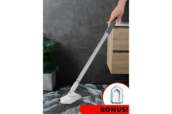 Dolanx Extendable Tile and Tub Brush with Extra Scourer Head