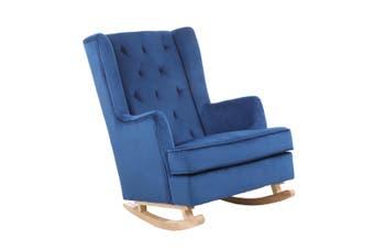 BELLEMOSA Rocking Chair Nursing Chair With Velvet Cover - Blue
