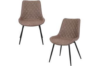2pcs BELLEMOSA Relax Dining Chair With Power Coated Metal Frame PU Leather Cover - Brown