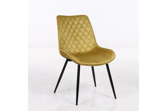 2pcs BELLEMOSA Relax Dining Chair With Power Coated Metal Frame Velvet Cover - Yellow