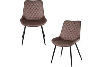 2pcs BELLEMOSA Relax Dining Chair With Power Coated Metal Frame Velvet Cover - Brown