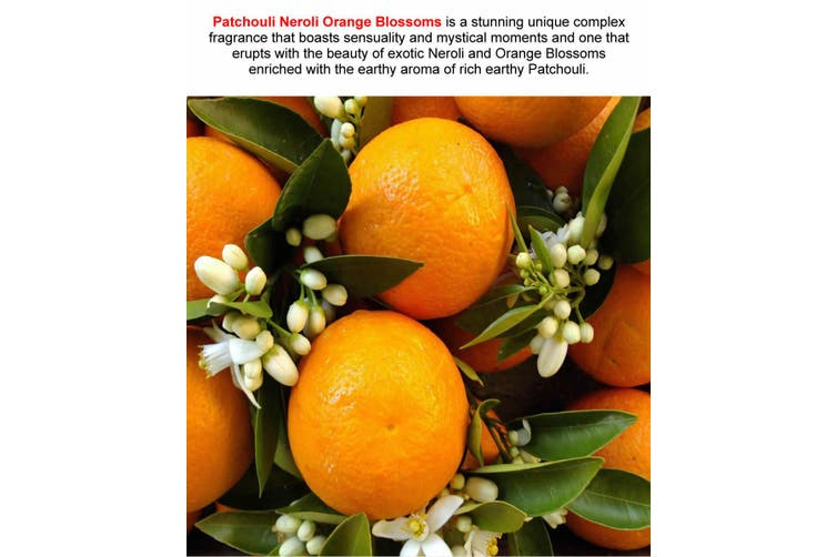PATCHOULI NEROLI ORANGE BLOSSOMS Diffuser Fragrance Oil Refill BONUS Free Reeds