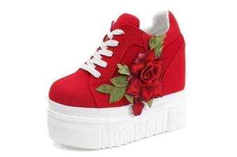 Red Rose Wedge Sneakers
