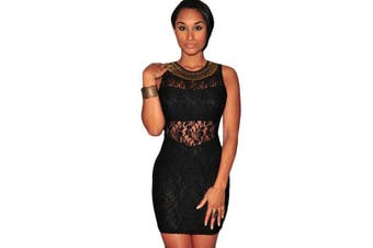 Black Lace Bronze Embellished Mini Dress Bodycon Sexy Dress Women