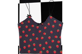 Kawaii Pink or Black Strawberry Cropped Cami Top Spaghetti Strap Women
