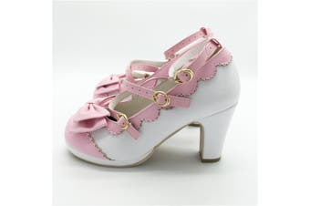 Cute Lolita Buckle Heel Shoes Kawaii Bow Cosplay Comfortable Shoes - 4.5