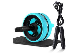 2 in 1 Ab Roller & Jump Rope Abdominal Wheel with Mat Skipping Rope
