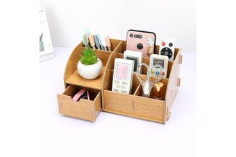 Wooden Home Office Organiser Desk Stationery Holder With Drawer O01
