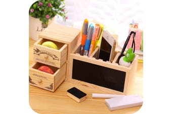 Wooden Pen Holder with Blackboard Cute Kawaii Desk Tidy Organizer O01