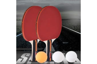 Pair of Table Tennis Bats Ping Pong Paddle Racket Set with 3 Balls Home Fitness F01 AU Stock - Australia