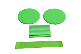 3/pcs Green Fitness Workout Kit with Sliding Discs Resistance Band Latex Yoga Stretching Strap