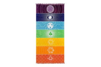 Colourful Rainbow Stripes 7 Chakra Towel Meditation Yoga Mat