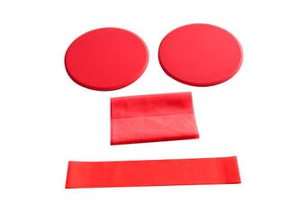 3/pcs Red Fitness Workout Kit with Sliding Discs Resistance Band Latex Yoga Stretching Strap