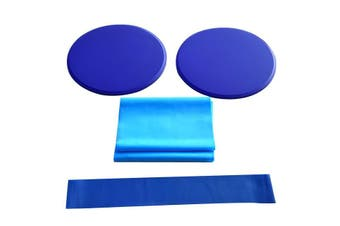 3/pcs Blue Fitness Workout Kit with Sliding Discs Resistance Band Latex Yoga Stretching Strap