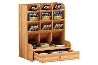 Wooden Pen Holder Desktop Stationery Organiser Home Office Desk Storage