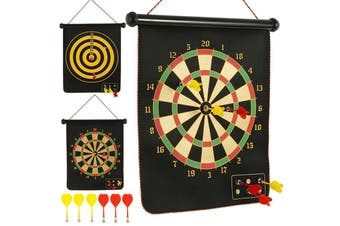 Double-sided Darts Target Set with Magnetic Dart Flocking Dartboard Indoor Sports Family Games